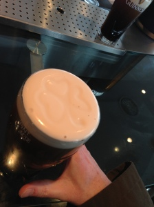 Guinness at the Storehouse. See the shamrock?